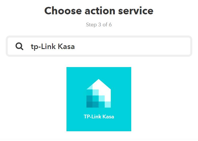 IFTTTからTP-LinkのスマートプラグHS105を操作するために、thatでtp-link kasaと検索する。