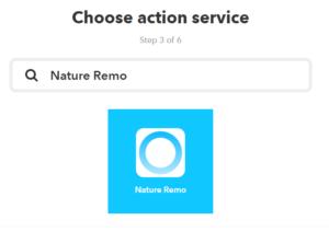 IFTTTからNatureのスマートリモコンNature Remoを操作するために、thatでNature Remoと検索する。