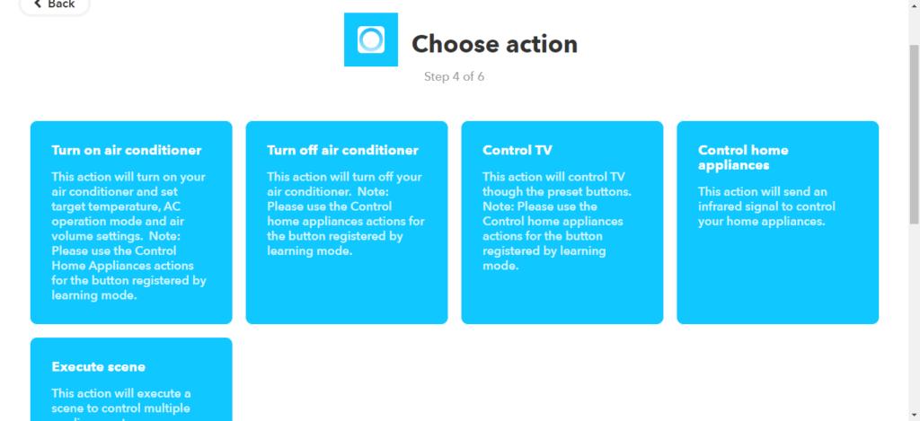 IFTTTのthatに指定するNature Remoのアクションを選ぶ。エアコンのON/OFFやTVの操作などが選べる。